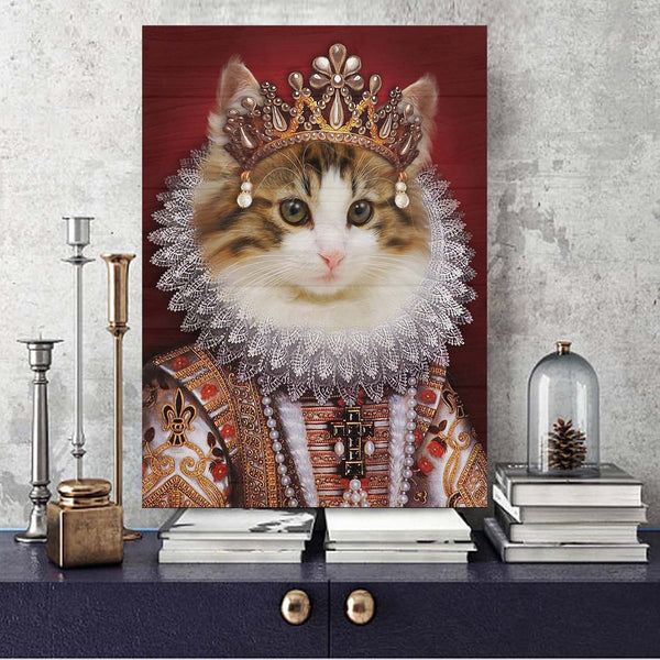 Custom pet portrait wood Print, Renaissance pet portrait, Royal cat Portrait, Anthropomorphic art