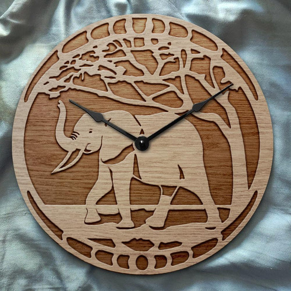 """Elephant"" wooden clock"