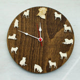 French bulldog portrait wood Clock