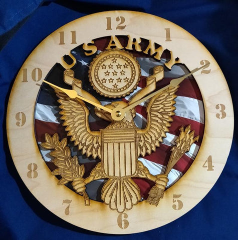 "12""  U.S. Army American Flag Clock"