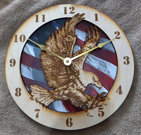 "Eagle/American Flag 2 12"" Wall Clock"