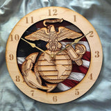 "12"" Marine Corps Flag Wooden Clock"