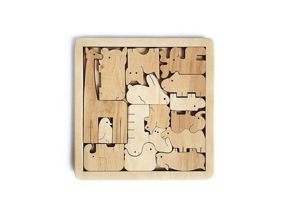 "Personalized Jigsaw Wooden Animal Puzzle, Educational Toy, Birthday Gift ""Central Park Zoo"""