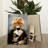 Customized Pet in Military Uniform Portrait Wood Prints