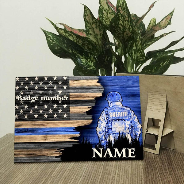 Half Flag Police Suit Canvas Personalized Wood Prints