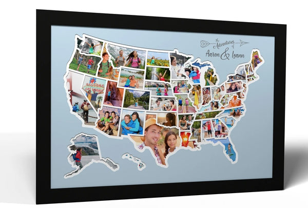 Personalized USA Photo Map - 50 States Travel Map Gift