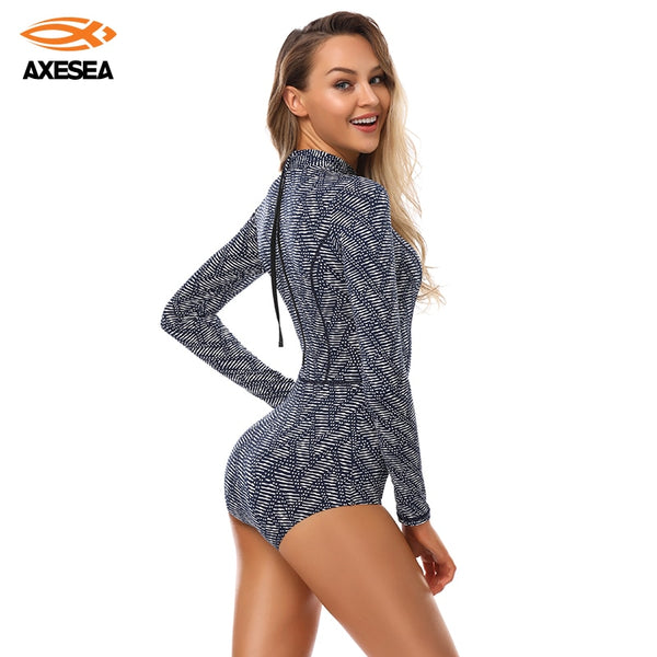 AXESEA Long Sleeve Rash Guard Swimwear Women One Piece Swimsuit Sun Proof - mystore9560