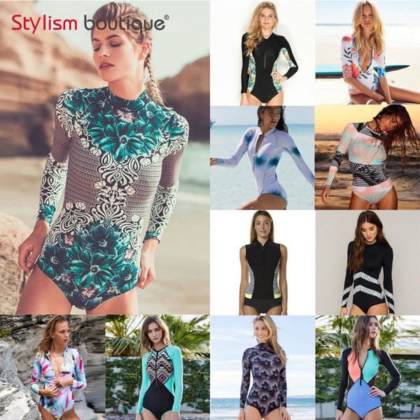 2019 New Padded One Piece Swimsuit Rash Guard Long Sleeves Sleeveless - mystore9560