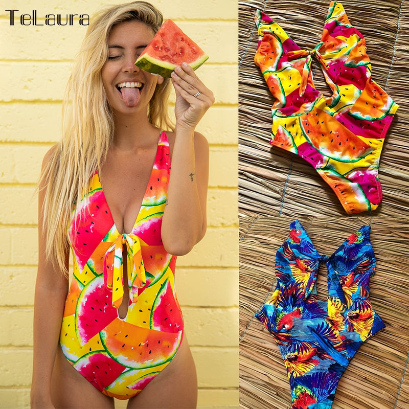 2019  One Piece Swimsuit Swimwear Women Bodysuit High Waisted Bathing Suit - mystore9560