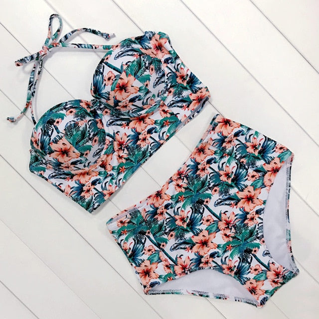 Sexy Floral Print High Waist Swimsuit 2019 Bikini Push Up Swimwear Wom - mystore9560