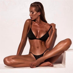 Minimalism Le Sexy High Cut Bikinis Women Micro Thong Swimsuit Solid S - mystore9560
