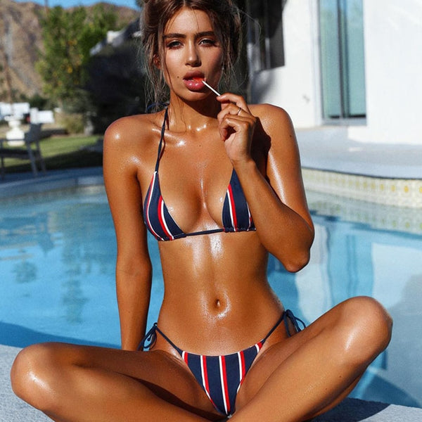 micro sexy Brazilian Bikini Push Up Swimwear women swimsuit bikinis 2019 Mujer Bathing Suit Woman Mini Striped biquini feminino - mystore9560