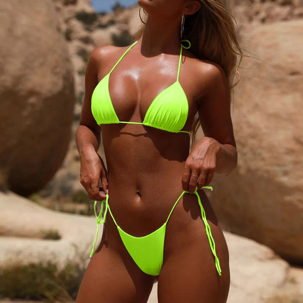 Neon Green Neon bikini 2019 Sexy micro bikini set bathers Push up swim - mystore9560