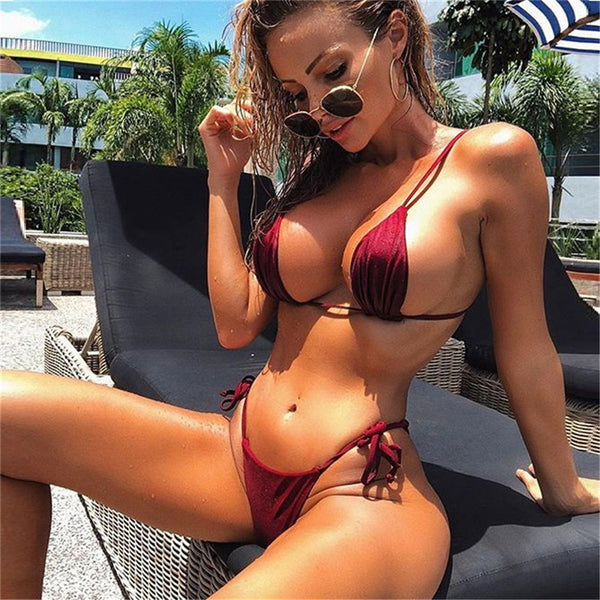 Women Micro G-String Bikini Set Bra Solid Color Bandage Summer Hot Young Female Thong Sexy Push up Swimwear Bathing Swimsuit - mystore9560