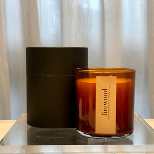 firewood scented luxury soy candle