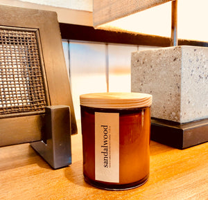 sandalwood scented luxury soy candle