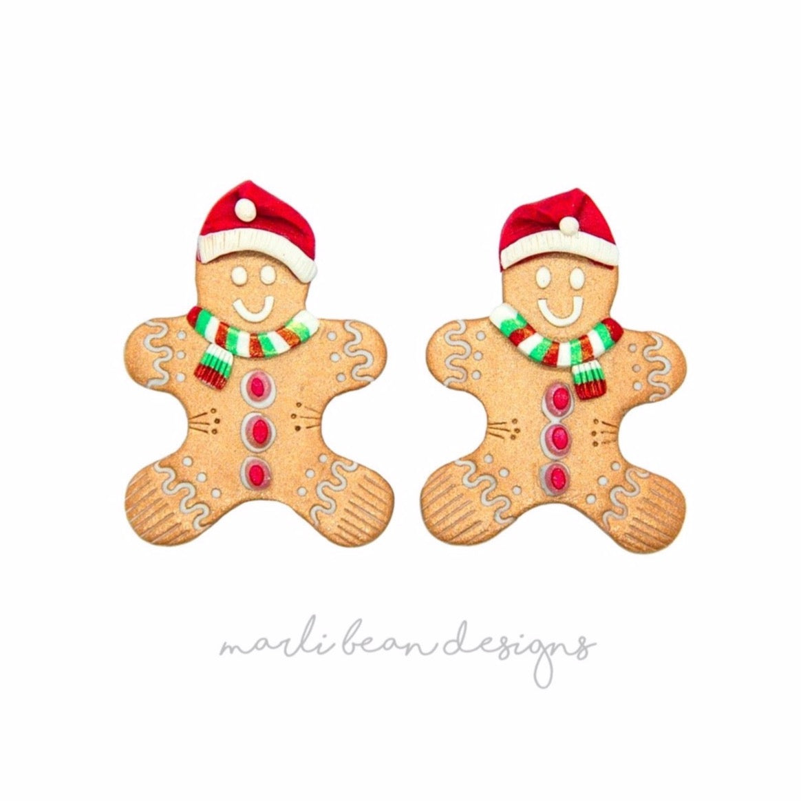 Santa Gingerbread Men Statement Studs