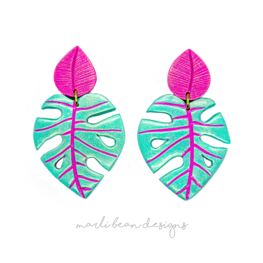 Monsteras | Turquoise + Fuchsia Inlay