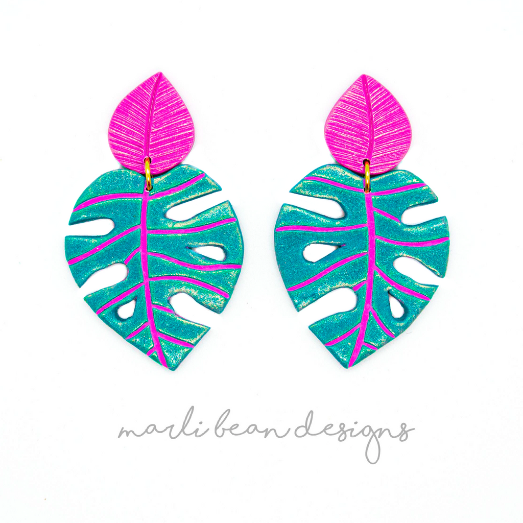 Monsteras | Teal + Fuchsia Inlay