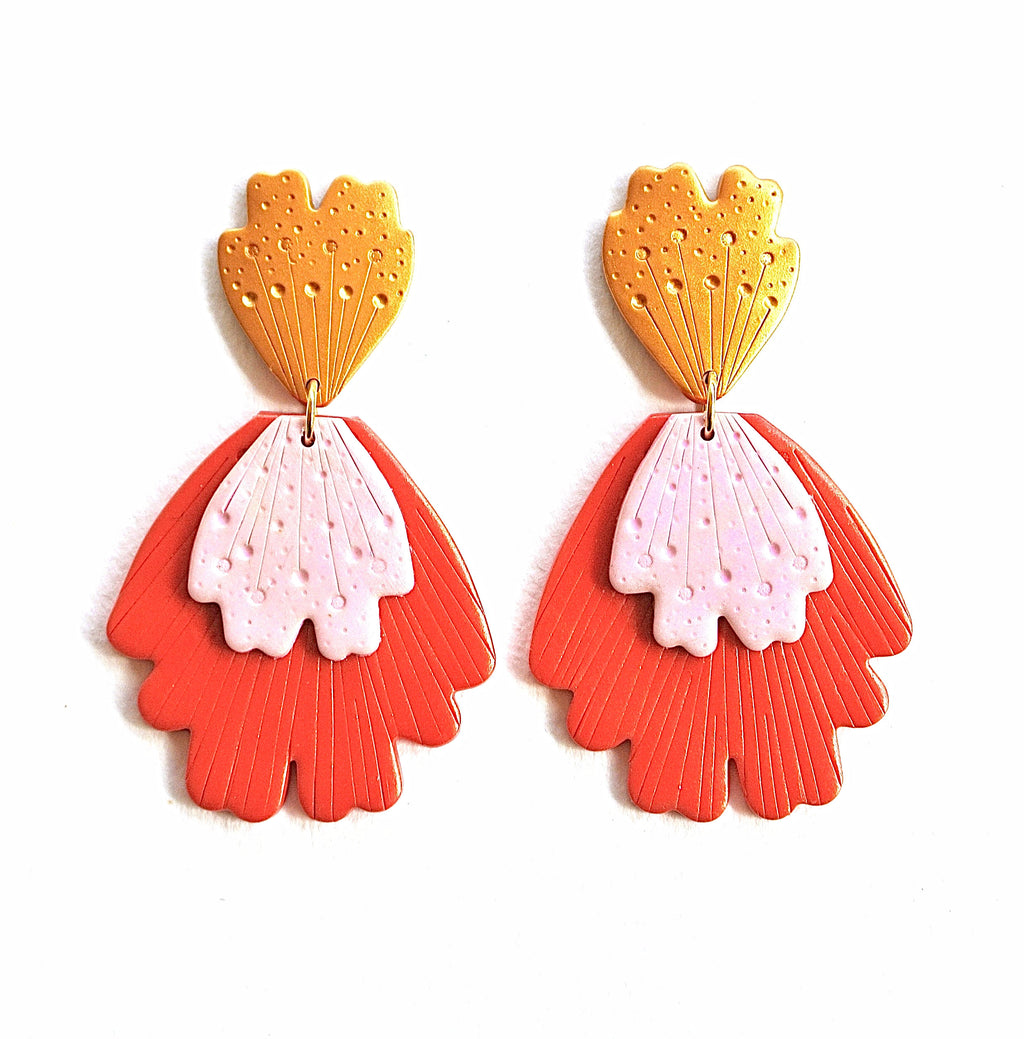 Flora Drop Dangles - Red & Blush Pink *PRE-ORDER*
