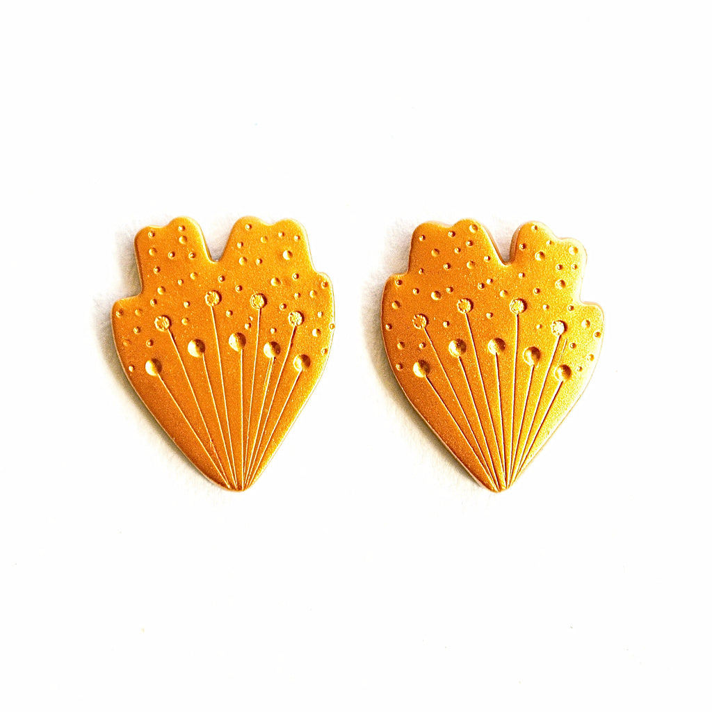Gold Petal Statement Studs