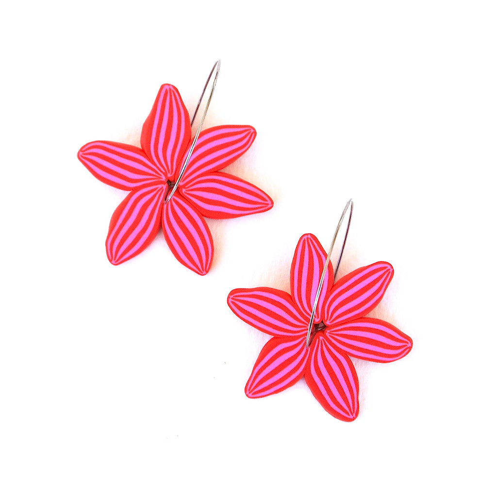 Red & Pink Daisy Hoops
