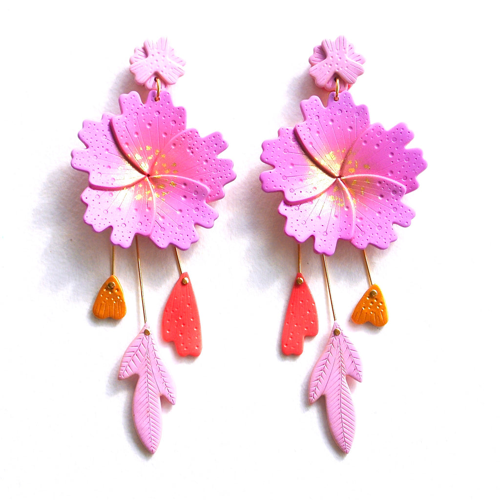 Peachy Lilac Flourish Statement Dangles