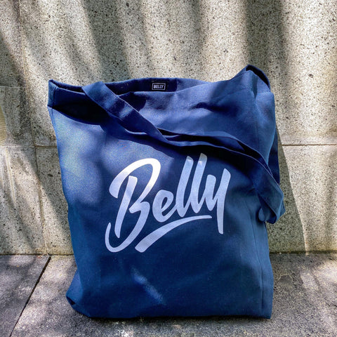 Belly Script Tote Bag - Navy Blue