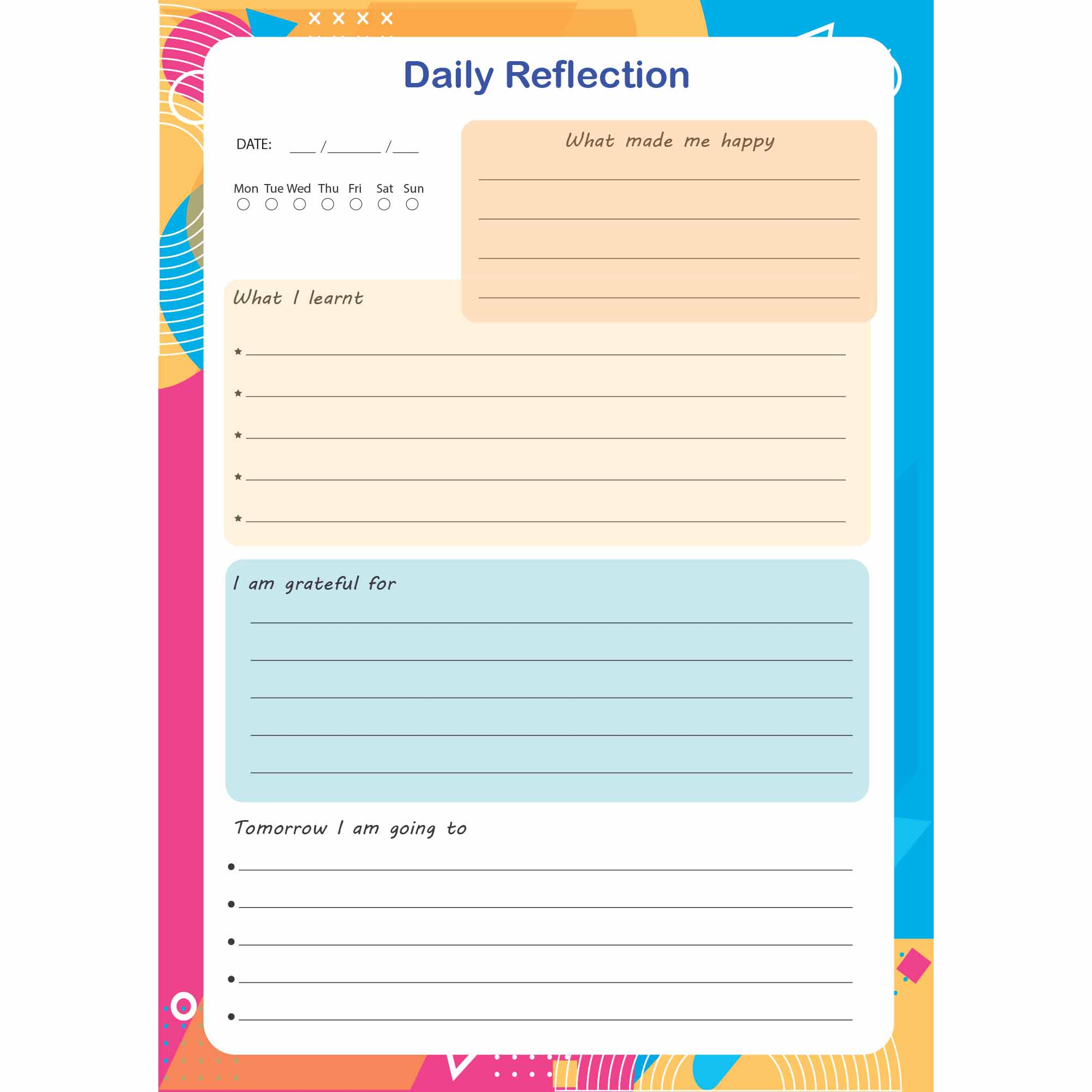 Daily Reflection Gratitude Journal Free Printable Pdf Grit Mindset