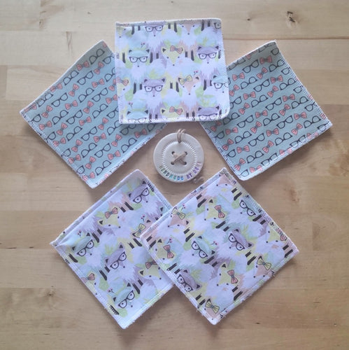 Hipster Foxes Re-usable Cloth Wipes