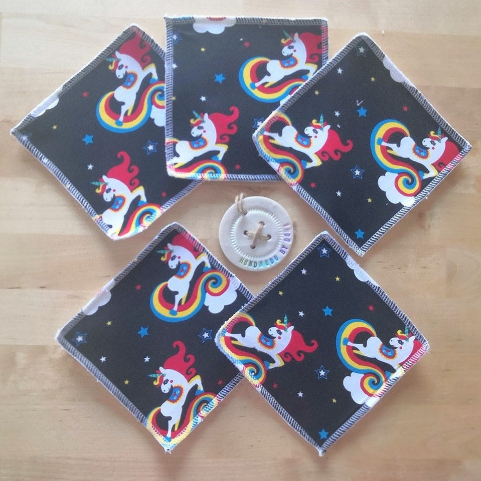 Unicorns in Space Re-usable Cloth Wipes