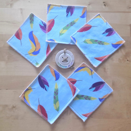 Blue Feathers Re-usable Cloth Wipes