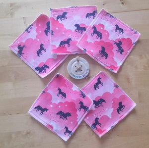 Pink Unicorns Re-usable Cloth Wipes