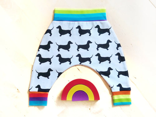 Rainbow Dachshund Harem Pants (Ready Made)
