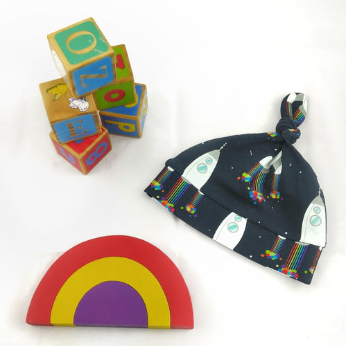Baby Top Knot Hat - Space Rockets