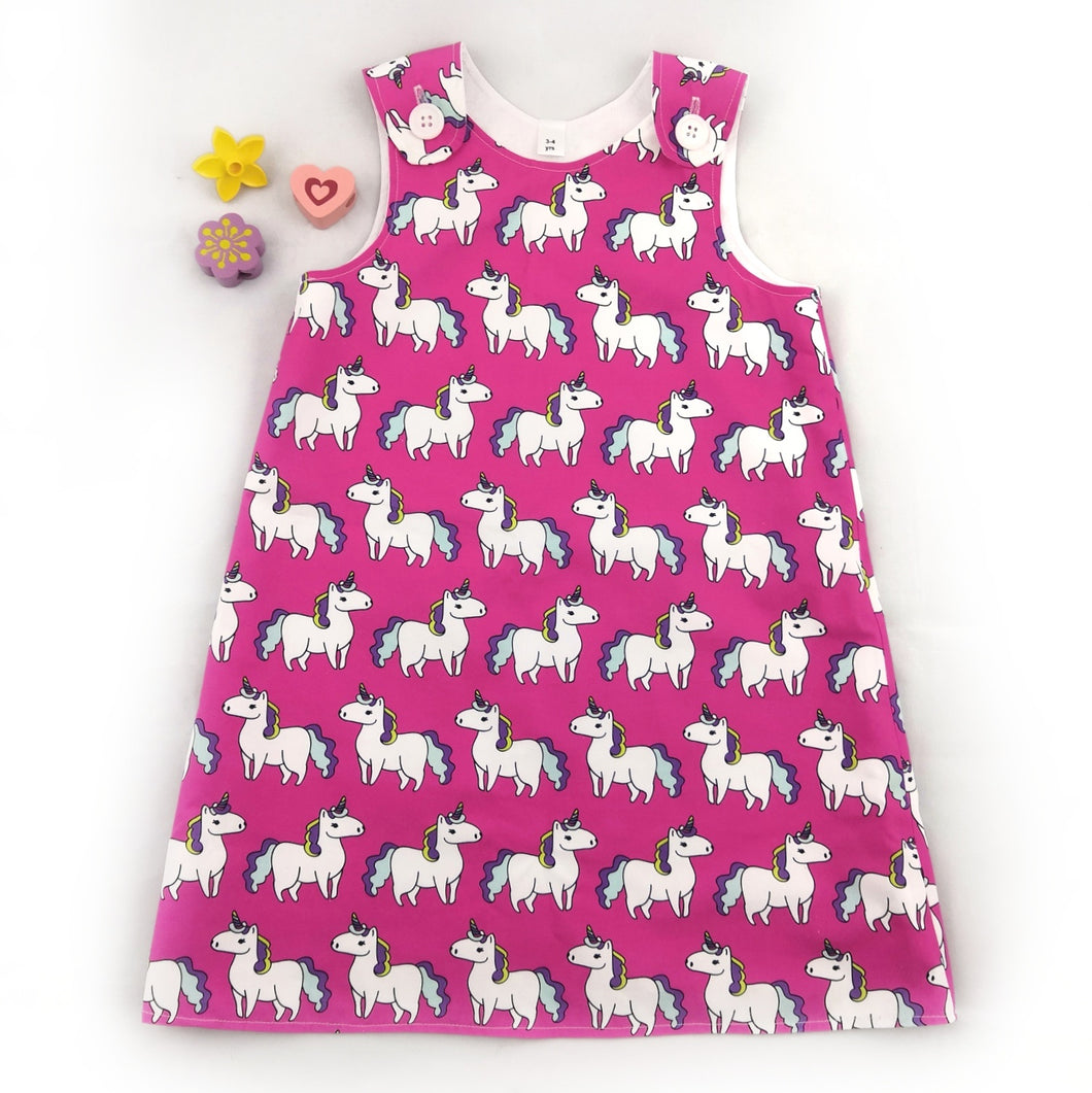 Pink Unicorn Pinafore Dress
