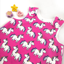 Load image into Gallery viewer, Pink Unicorn Pinafore Dress
