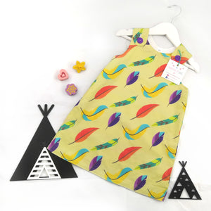 Yellow Feathers Pinafore Dress