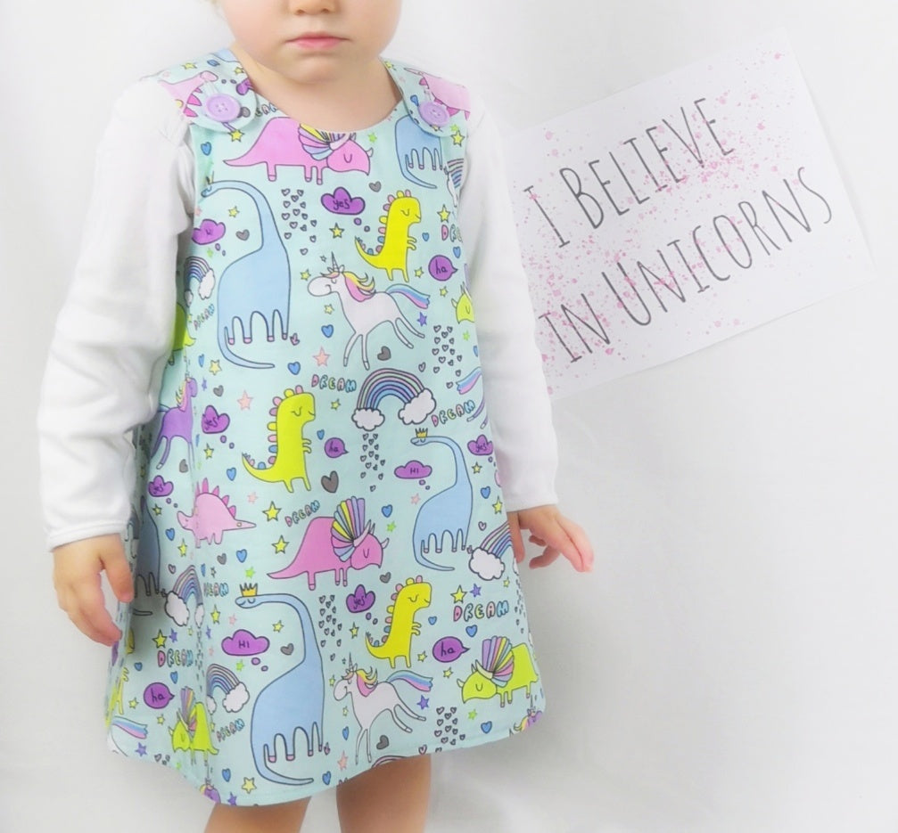 Unicorn & Dinosaur Dress (READY MADE)