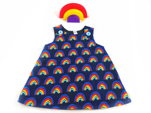 Rainbow Corduroy Pinafore Dress