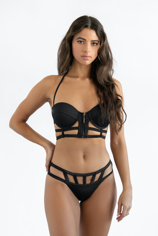 """Zendaya"" Black Caged Top - Dolce Aqua Swimwear"