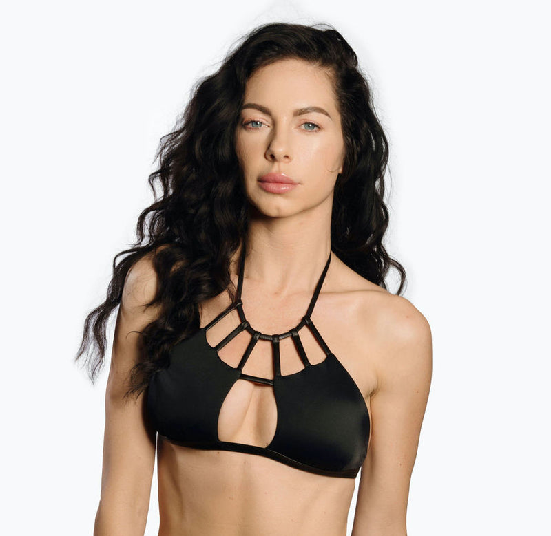 """Audrina"" Vegan Leather Strappy Top - Dolce Aqua Swimwear"