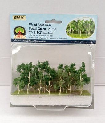 JTT Scenery 95619 N Scale Wood Edge Trees Green (20 Pack)