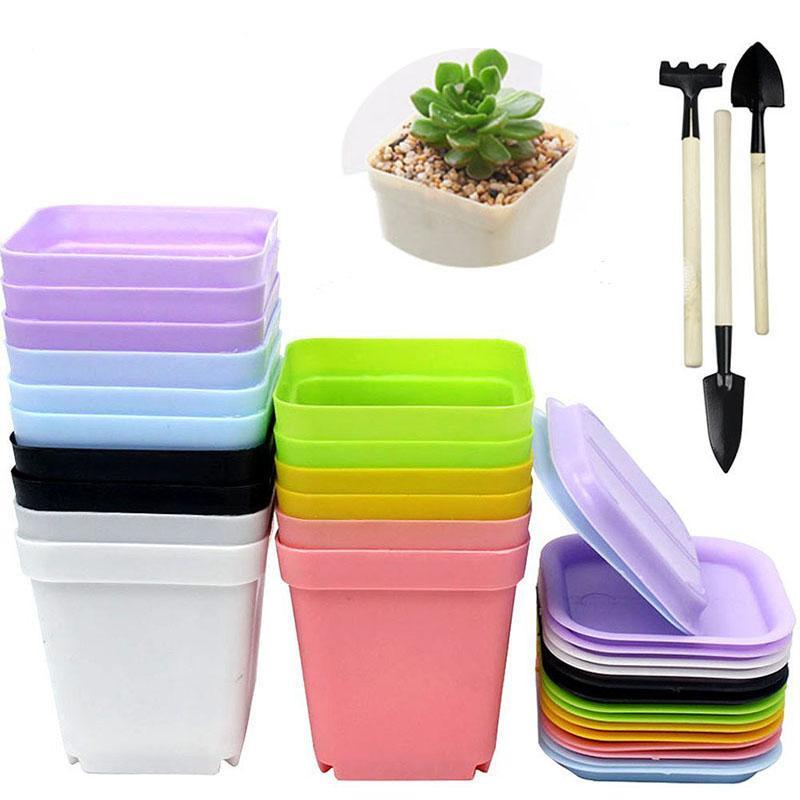 Plastic Plant Pots with Tools (16 pcs)