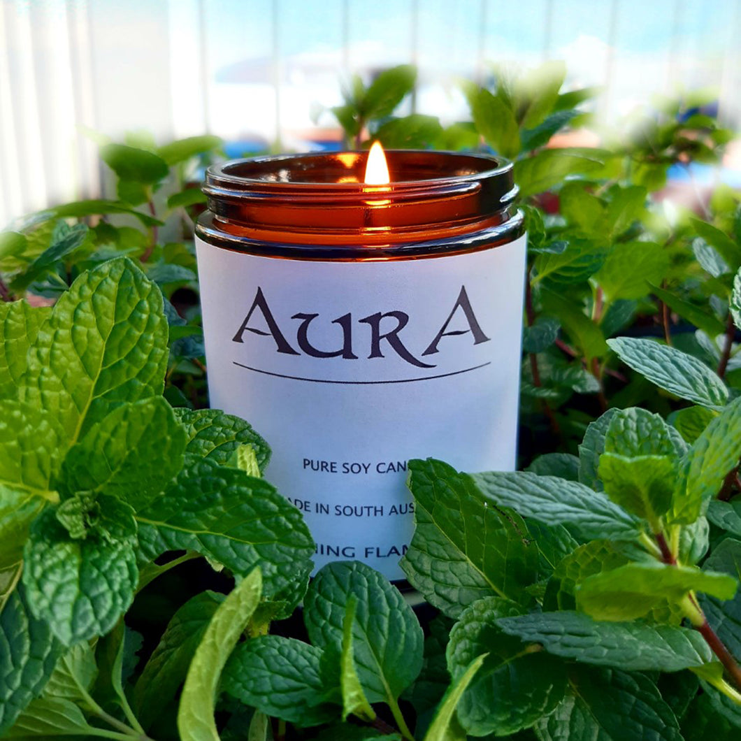 AURA soy candle - vanilla bean and peppermint essential oils