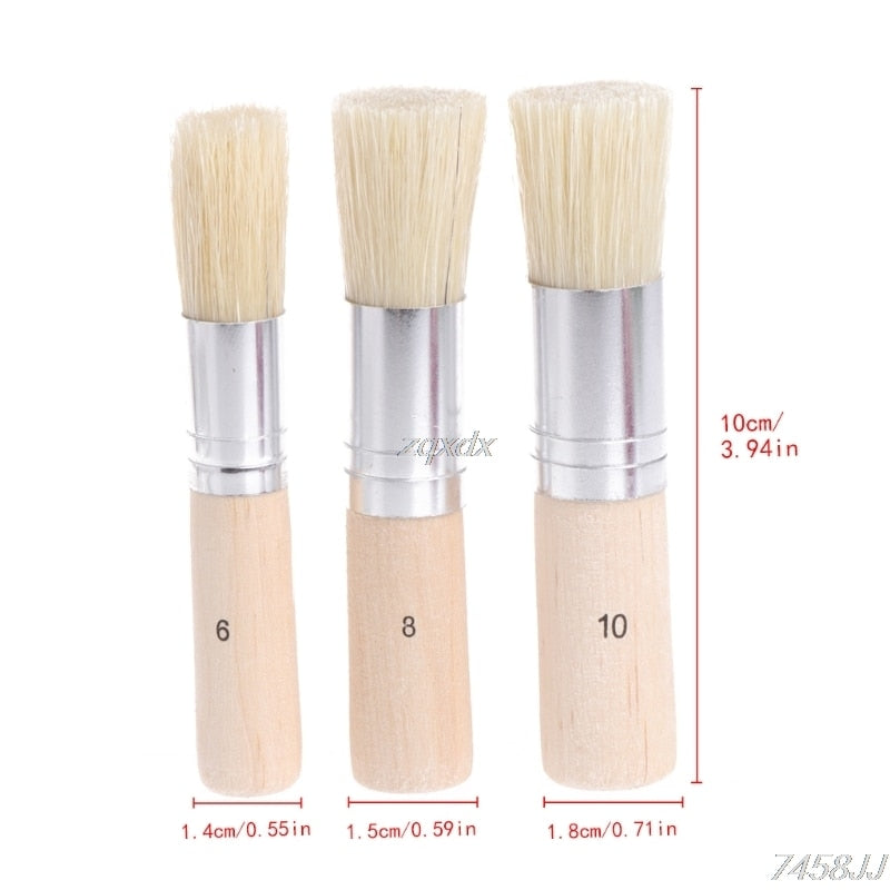 3Pcs/Set Wooden Stencil Brush Hog Bristle Brushes Acrylic Watercolor Oil Painting Z11 Drop ship