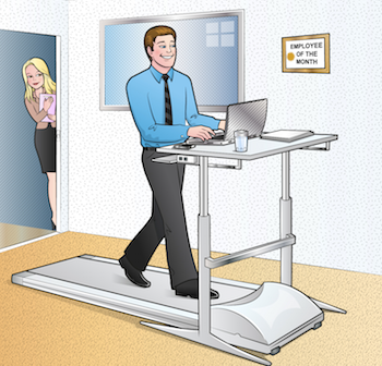 cartoon of people at treadmill desk in office