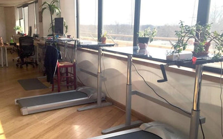 treadmill desks in an office