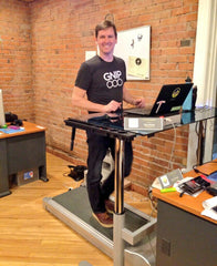Treadmill desk with user