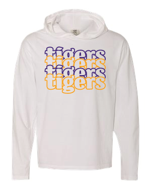 TIGERS - Hooded Long Sleeve T-shirt - Comfort Color